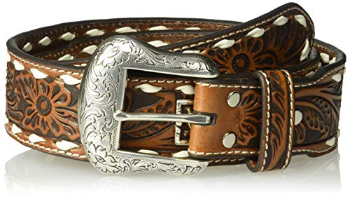 Nocona Belt Co. Unisex-Adult's Nocona Floral Buckstitch Multi-Metal Belt, tan, 34