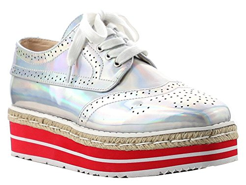 Cape Robbin Womens Oxford Wingtip Espadrille Lace-up Flatform Creeper Hologramme