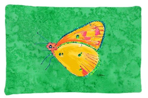 Carolines Treasures 8861PILLOWCASE Butterfly Orange On Green Moisture Wicking Fabric Standard Pillowcase Large Multicolor