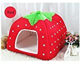 RunHigh Pets Strawberry Bed Sleeping House Cute Soft Sponge Nest Warm Home With Warm Plush Pad