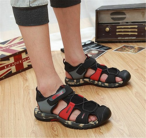 Toe Hole BININBOX Flat Mesh Closed Mens Shoes Sandals Breathable Slippers Red 1xw4SwqUYW