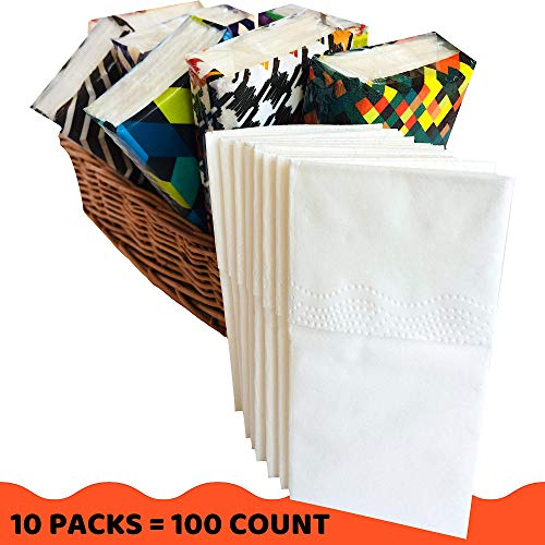 (Pocket Facial Tissue - White Premium 3 Ply Paper Wallet Tissues - Travel Size Go Pack - 100 Count (10 Packs))