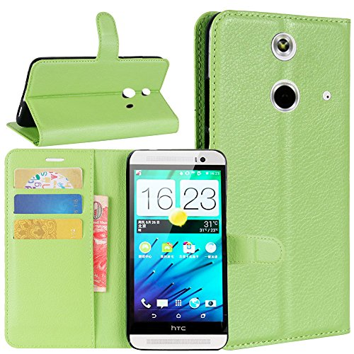 HTC One E8 Wallet Cases, FARRED360 Premium PU Leather Flip Credit Card Slots Cash Holder Folio Protective Case with Magnetic Flip Kickstand, Green (Htc E8 One Case Green)