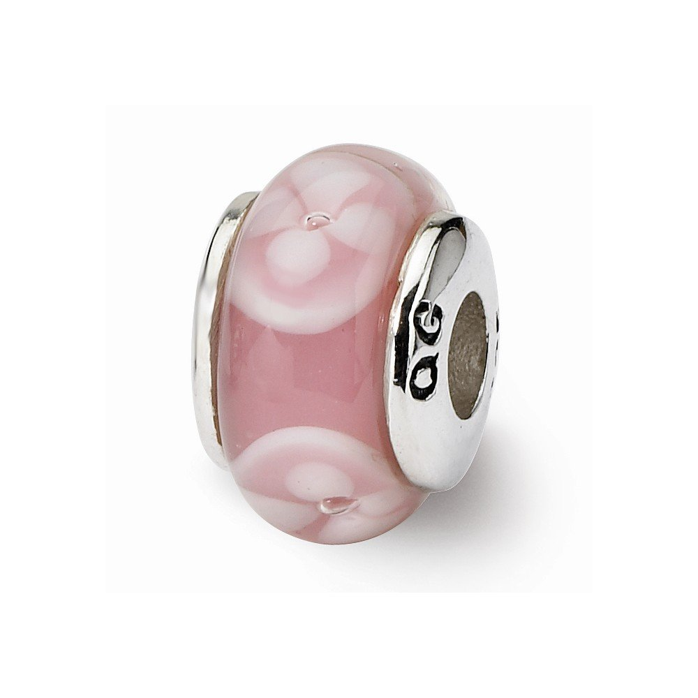 Sterling Silver s Kids Pink Hand-blown Glass Bead by Reflection Beads