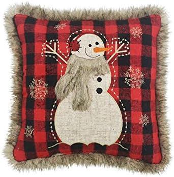 Comfy Hour Winter Christmas Snow Flake Soft Fur Edge Snowman Wearing Scarf Accent Throw Pillow Cushion, 13 x13