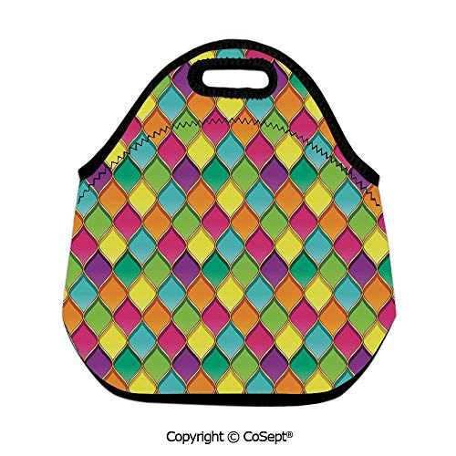 Insulated Lunch Tote,Vivid Colored Stained Glass Style Pattern Wavy Lines Curves Oval Shapes Modern Decorative,for School Travel Picnic Office(11.81x6.29x11.02 inch) Multicolor]()