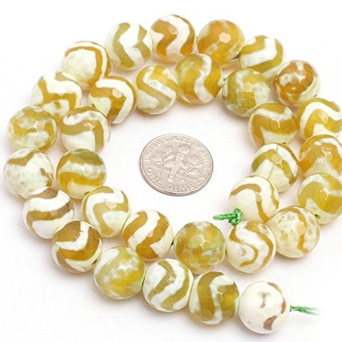 (Fire Agate Beads for Jewelry Making Gemstone Semi Precious 12mm Round Faceted Stripe Wave Yellow 15