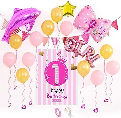 1歳 バースデー 飾り付け 女の子 1歳の署名可能なピンクお誕生日おめでとうポスター ピンクのイルカの弓 GIRL 箔バルーン ピンクの金色の風船 付 愛のペンダント 誕生日 セット