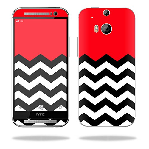 Mightyskins Protective Skin Decal Cover for HTC One M8 wrap sticker skins Red Chevron
