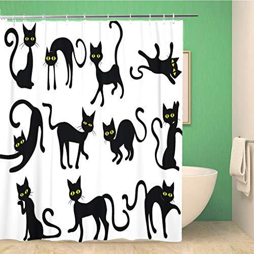 Awowee Bathroom Shower Curtain Yellow Holloween Black Cats Silhouettes Clip Halloween Eyes Face 66x72 inches Waterproof Bath Curtain Set with Hooks]()