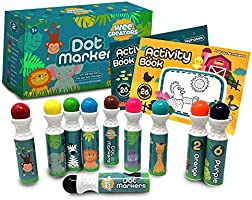 Wee Creators Washable Dot Markers for Kids with 2 Educational Activity Books | 10 Color Set