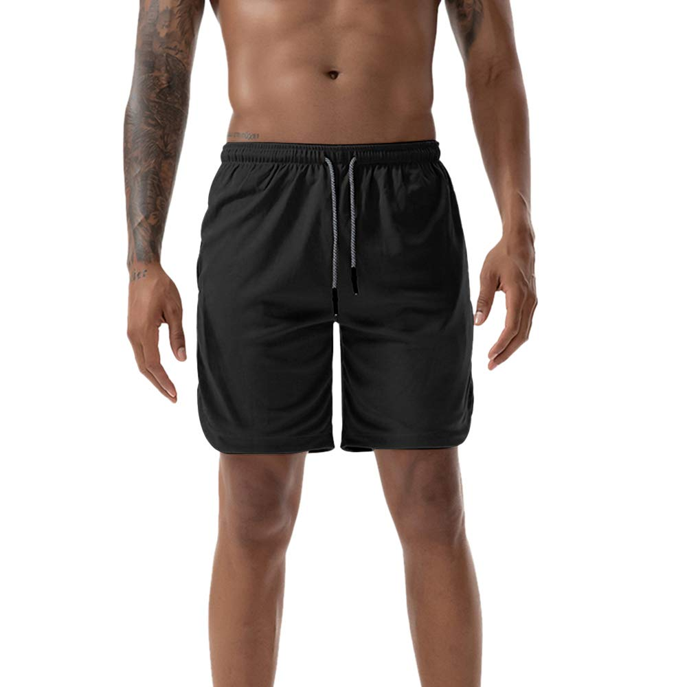 Herren 2 in 1 mit Handytasche Laufshorts Gym Sports Fitness Trainieren Kurz Hose