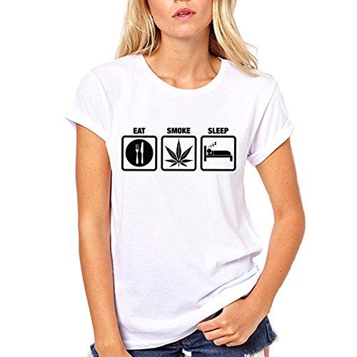 Eat Smoke Sleep Funny T Shirt Large - Leaf Marajuna