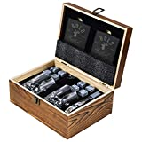 Bold Antler Whiskey Stones Set | Bar Accessories with Shot Glasses, Coasters and Granite Cubes in Wooden Box | No Ice Melt Bourbon, Scotch, Brandy Glass | Best Birthday or Anniversary Gift for Men