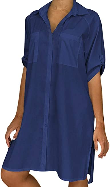 URIBAKY Vestido Estilo Camisa De Mujer Color SóLido Vestido ...
