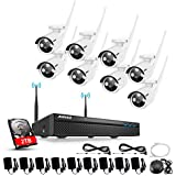 Wireless Security System, ANNKE 8CH 1080P Wireless Security Camera System With 8pcs 1.0MP 720P HD Security Camera and 2TB Hard Drive,Motion Detect,Email Alarm, No Video Cable Needed