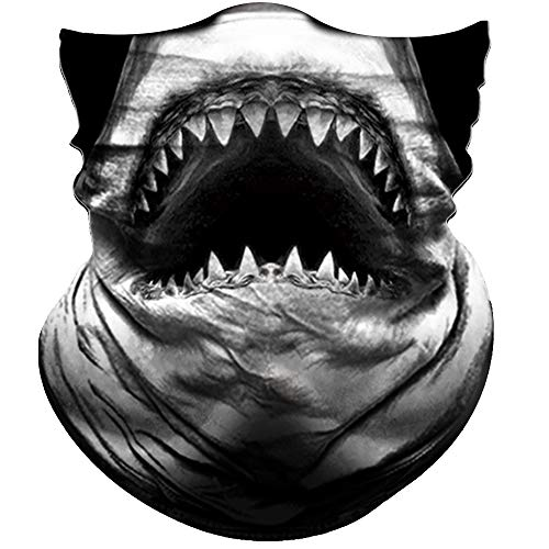Obacle Animal Half Face Mask Sun Dust Wind Protection Durable Breathable Seamless Face Mask for Men Women, Lightweight Thin Neck Gaiter for Outdoor Sports Gifts White Teeth
