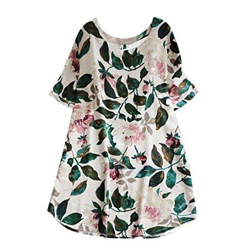 Women Plus Size Dress Floral Print Party Short Sleeve A-Line Beach Mini Skirt Zulmaliu (White, L) ()