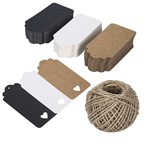 Kraft Gift Labels Tags Z&S Groups 150 PCS Paper Tags with String for Birthday Party Wedding Favors Rectangular 3 Colors Kraft Craft Tags with Love Heart -Natural Twine 131 Feet - Small Heart Hang Tags