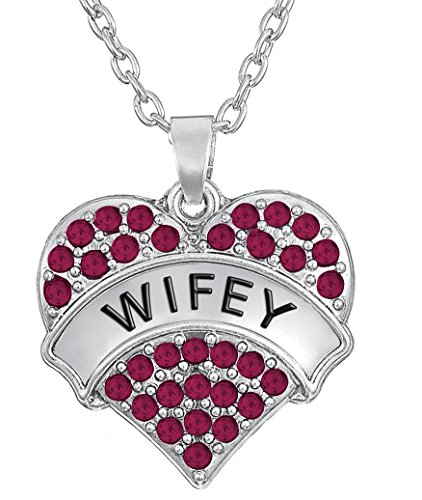 Glamour Girl Gifts Collection Wifey Crystal Heart Necklace Gift for Wife Girlfriend BFF - Choose Pink or Clear Crystals (Pink Crystals) (My Ride Or Die Best Friend)