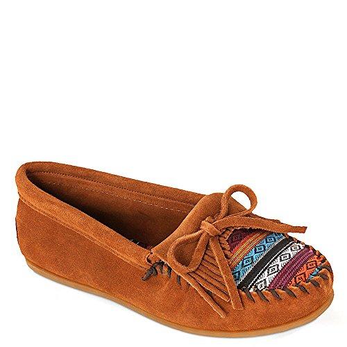 Brown Suede Moccasins - Minnetonka Women's, Arizona Kilty Slip-on Moccasin Brown Suede 7 M