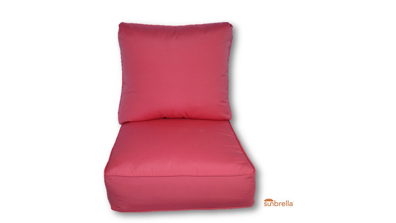 Sunbrella Canvas Hot Pink w/ Self Cording Cushion Set for Indoor / Outdoor Deep Seat Furniture Chair - Choose Size (24''w X 24''d)