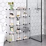 SONGMICS Closet Cabinet, Bookcase, Storage Unit, Interlocking Plastic Cubes, Easy to Assemble, for Living Room, Closet…