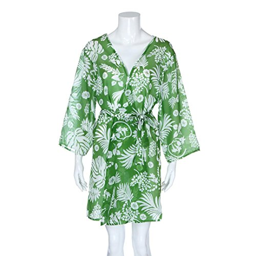 Kimono Cardigan Womens Leaf Print Cover Blouse Swimsuit Smock Tops (XL, Green) by OVERMAL Clearance (Image #3)
