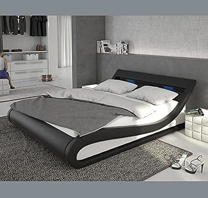 Muebles Bonitos - Cama de Matrimonio Carol 180x200cm blanco y negro ...