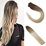 Sunny 14inch Tape in Hair Extensions Blonde Balayage Hair Extensions 100% Human Hair Tape in Extensions Ombre #6 Chestnut Brown to #613 Blonde Hair 100g/40pcs