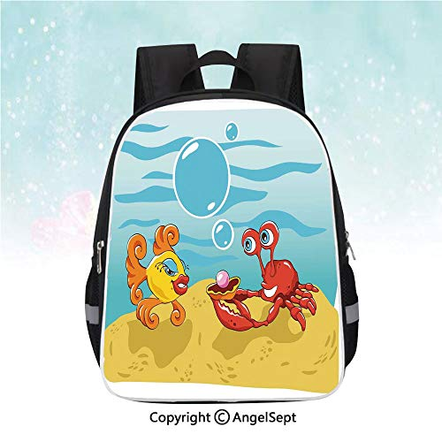 School Student Backpack,Under the Sea Cartoon Fish and Crab with Sand Pearl,13