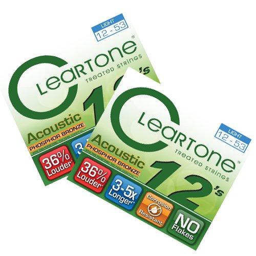 (Cleartone Acoustic Guitar strings - Phosphor Bronze - Light .012 .053 - 2)