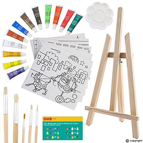 Childrens Art Posters - ETI Toys | 26 Pieces Kids Art Painting Set with Wood Easel, Canvases, Bright Color Acrylic Paints, Paint Brushes, Palette and More! Prime Arts Studio For Your Artist Kid! Children Ages 5+ Year Old