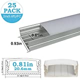 inShareplus 25Pack 6.6FT/2M LED Aluminum Channel System U Shape Track with Oyster White Cover, End Caps and Mounting Clips for 0.78in(20mm) 3528 5050 LED Strip Light Installation
