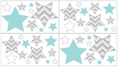 Border Baby Bedding (Baby, Childrens and Kids Wall Decal Stickers for Turquoise and Gray Zig Zag Bedding by Sweet Jojo Designs - Set of 4 Sheets)