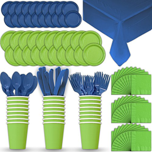 Paper Tableware Set for 24 - Lime Green & Blue - Dinner and Dessert Plates, Cups, Napkins, Cutlery (Spoons, Forks, Knives), and Tablecloths - Full Two-Tone Party Supplies Pack ()