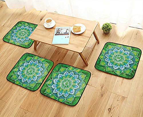 Printsonne Anti-Skid Chair Cushions Grand Mandala with Leaf Forms Symbol of Nature and Zen Green Style Health is Convenient W19.5 x L19.5/4PCS Set ()