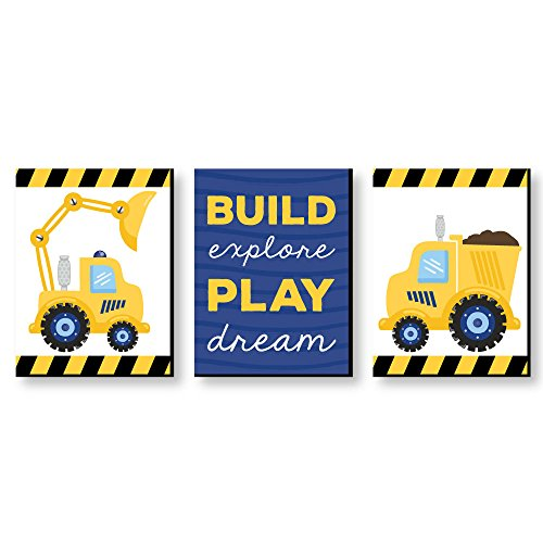 Construction Truck - Baby Boy Nursery Wall Art and Kids Room Decorations - 7.5 x 10 inches - Set of 3 Prints