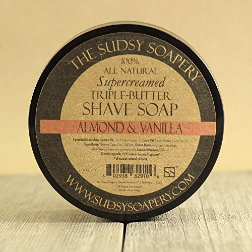 Sudsy SoaperyTM Shaving Soap Triple Butter All Natural Super-Creamed Almond and Vanilla Scent for Men and Women, Ladies Shave Soap too!