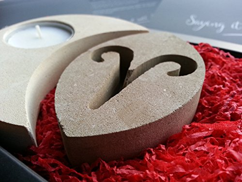 Aries Zodiac Sign Stone Tealight Candle Holder - Handmade in Italy - Elegant gift box with blank message card & candle all included - Astrology Horoscope Star Sign February March - Italia Independent Day