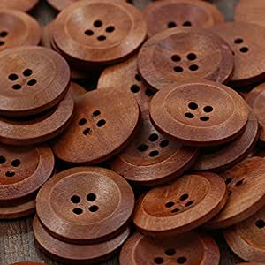 Amazon.com: LAYs 1 Inch Wooden Round Buttons with 4 Holes 50pcs for Sewing DIY Craft