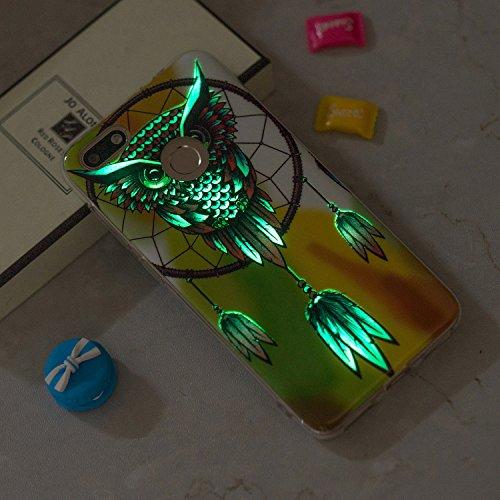 Funda Huawei Y6 Pro 2017, CaseLover Noctilucent Luminous TPU Silicona Carcasa Huawei P9 Lite Mini / Y6 Pro 2017 Ultra Delgado Suave Fluorescente Brillo Nocturno En la Oscuridad Protectora Caso Flexibl Búho amarillo