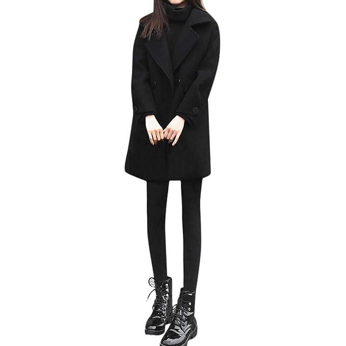 Luckycat Abrigo de Lana de Solapa de Invierno para Mujer Trench Jacket Abrigo de Manga Larga