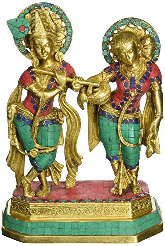 AapnoCraft Large Standing Radha Krishna Statue - Exquisite Divine Couple Radha Krishna Idols Symbol Of Love Sculpture Wedding Gifts