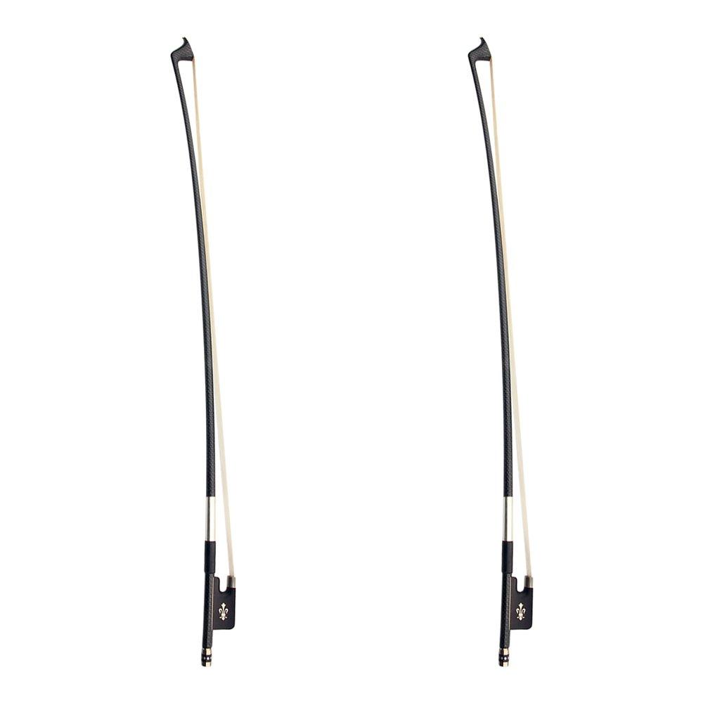 Kmise Z4438H2 2 Set AA Top Braided Carbon Fiber Cello Bow, Fluer-de-lys Inlay Ebony Frog 4/4