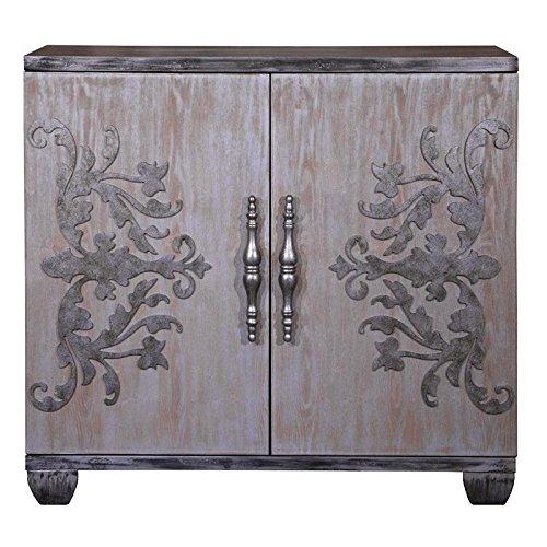 "Pulaski P020021 Metal Scroll 2 Door Bar Cabinet with Adjustable Shelves, 40"" x 15"" x 38.5"", Metal Grey"