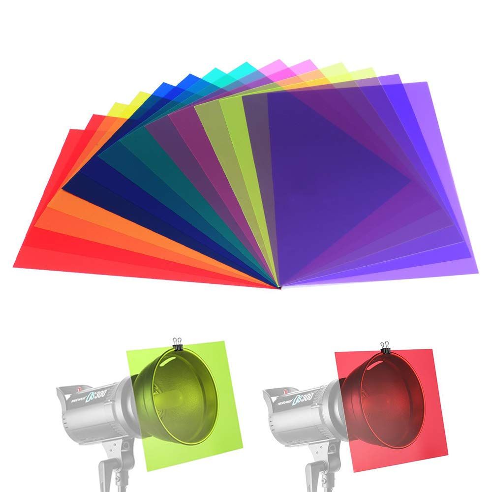 14 Pack Color Correction Light Gel Filter Sheet Colored Overlays Transparency Film Plastic Sheets, 11.7 by 8.3 Inches, 7 Colors by SailGoal