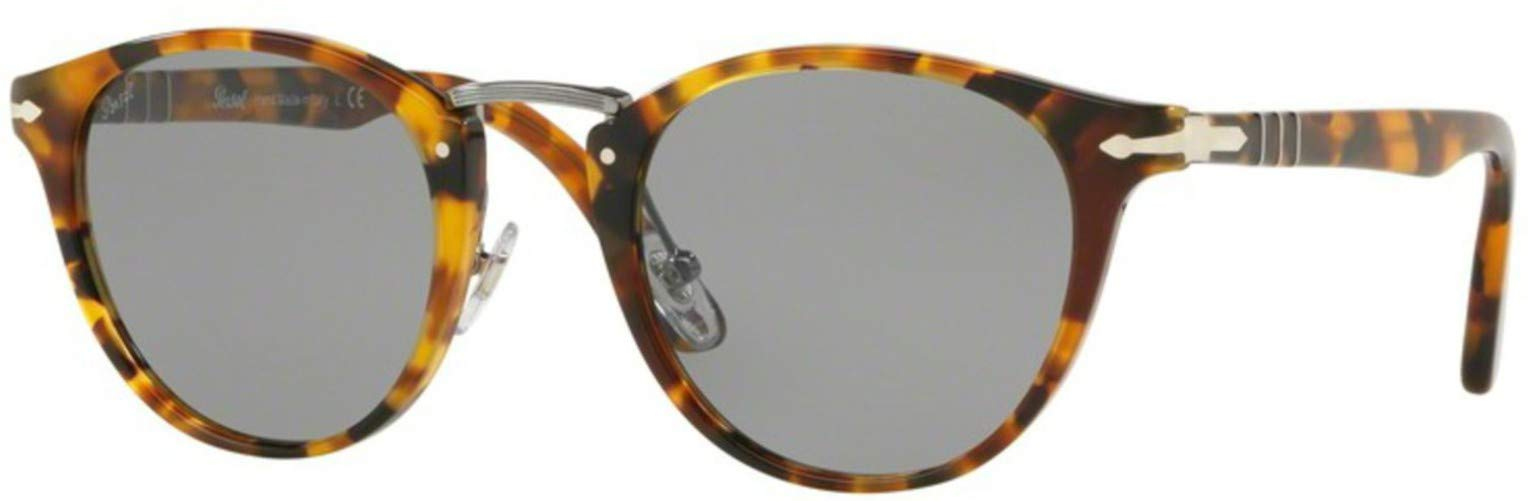 Persol Men's Round Tortoise Sunglasses, Madreterra/Grey, One Size by Persol