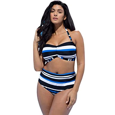 36288345a4 Bikini Factory Women's Stripe Print Plus Size Bandeau Bikini Set Ruched  High Waist Swimsuit Swimwear (
