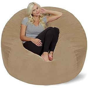Chill Sack Bean Bag Chair: Giant 5' Memory Foam Furniture Bean Bag - Big Sofa with Soft Micro Fiber Cover - Tan Pebble